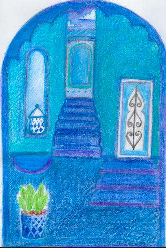 A drawing of the Blue City Chefchouen, Morocco